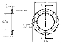 Dimensions of Allegheny Coupling 316 Stainless Steel Flanges (Flued)