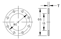 Dimensions for Betts TTMA Flange & Sump Gaskets