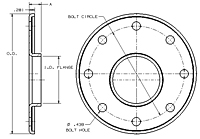 Dimensions of Allegheny Coupling Steel Flanges (Eccentric)